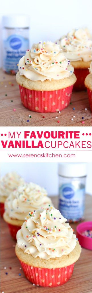 Vanilla Cupcakes with Vanilla Buttercream Frosting - Fluffy and moist Vanilla Cupcakes, topped with super creamy Vanilla Buttercream Frosting. Normally I'm a chocoholic, but I really love these Vanilla Cupcakes! via serenaskitchen.com #vanilla #cupcakes