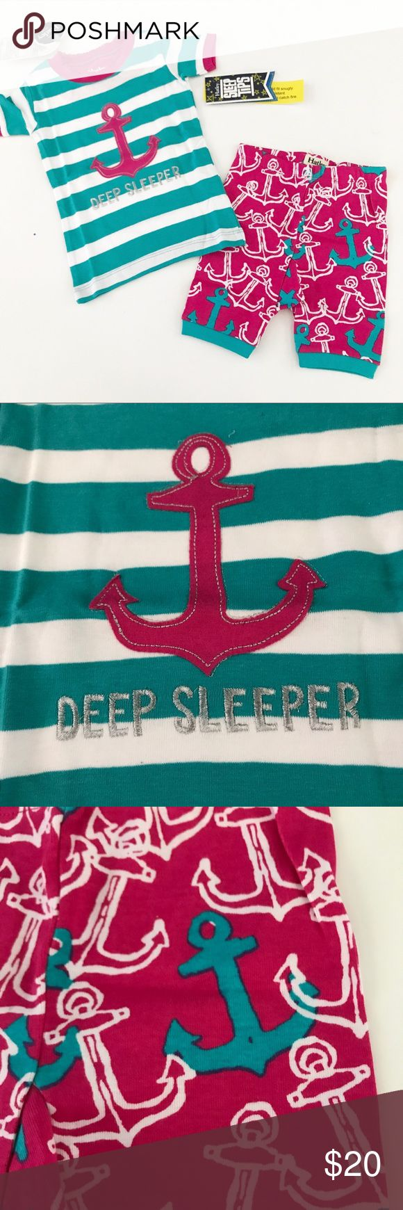 NWT! Hayley nautical Pajamas Brand new! Striped top with stitched on anchor and pink bottoms with white and Turquoise anchors Hatley Pajamas Pajama Sets
