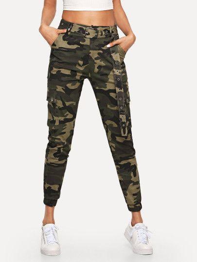 6d3977b90f64c Shop Camo Pocket Belted Pants online. SheIn offers Camo Pocket Belted Pants  & more to fit your fashionable needs.
