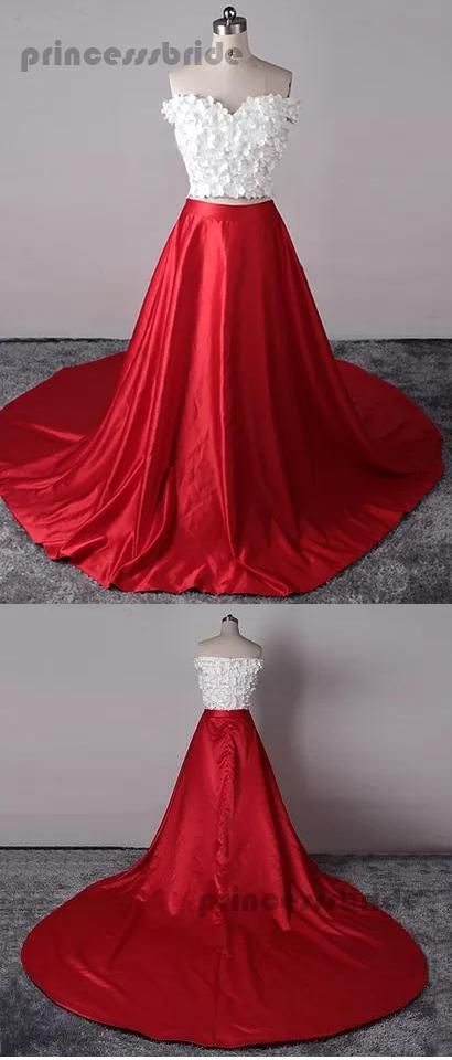 cba8d2bb228 Two Piece Prom Dresses Sexy Red White Off-the-shoulder Long Prom Dress –  Princesssbride  promdress  promgown  eveningdresses  2019promdresses