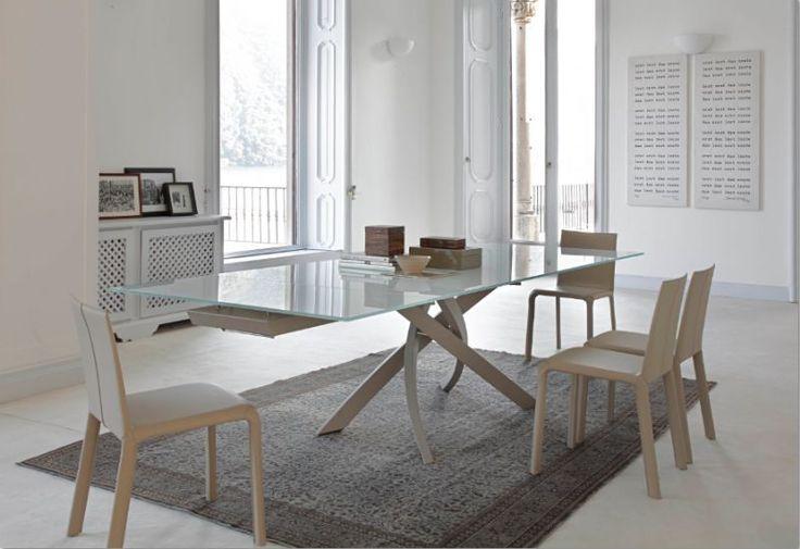 Tavolo Artistico Allungabile 20.04 <br /> L.190 x P.106 cm. tavoli cristallo allungabili - tavoli