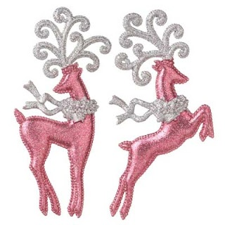 Pink & Silver deer - set of Christmas ornaments  http://www.polyvore.com/raz_pink_silver_leaping_deer/thing?id=39586285