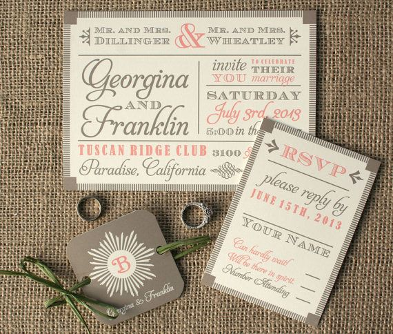 Modern Vintage Wood Block Fonts Wedding by sofiainvitations, $5.00