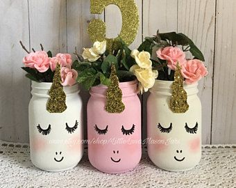 Giggling unicorn mason jar set, birthday party centerpiece, pink and white decorations, pencil holder, desk organizer, makeup brush holder