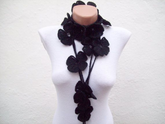 Hand crochet Lariat Scarf Black Flower Lariat Scarf Long by nurlu