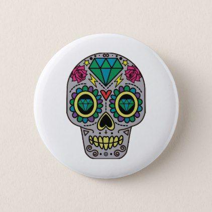 #Funky Sugar Skull Design Boho Love Pinback Button - #Halloween happy halloween #festival #party #holiday