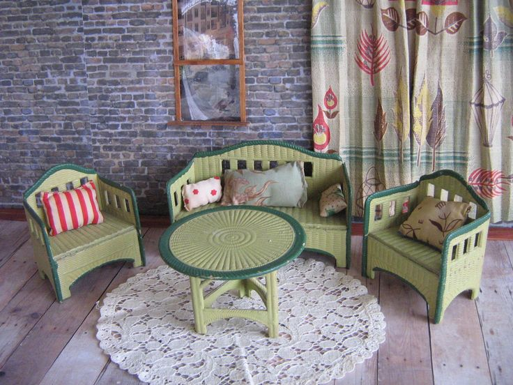 Antique KORBI Dollhouse Furniture with Antique Hand Made Toss Pillows - Made in Germany - 1923 in Large Scale