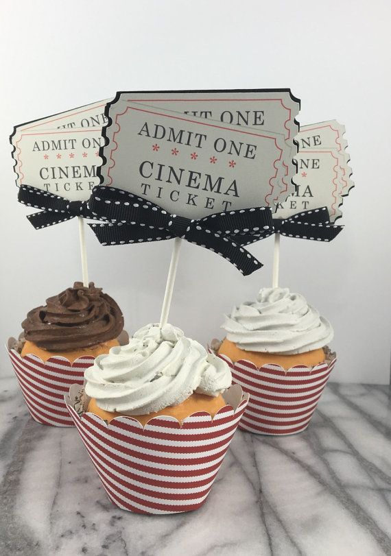 Movie Night Ticket Cupcake Toppers set of 12 by ATime2beeunique