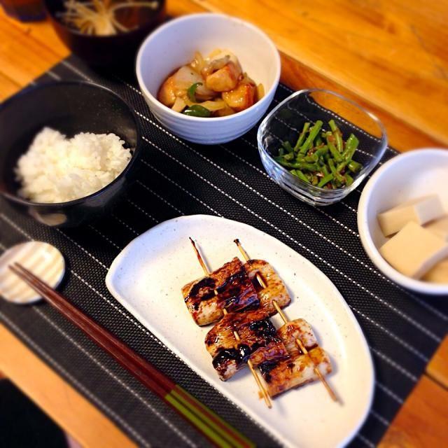 ちくわのなんちゃって蒲焼/高野豆腐の含め煮/ささげのおひたし/酢鶏/お吸い物/ご飯。 - 10件のもぐもぐ - なんちゃって蒲焼。 by hiicomam