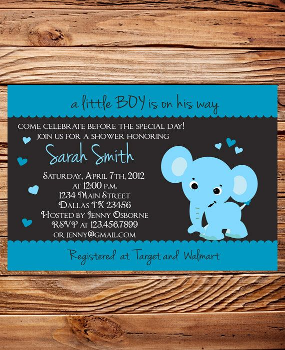 elephant baby shower invitation baby shower elephant invite boy gi