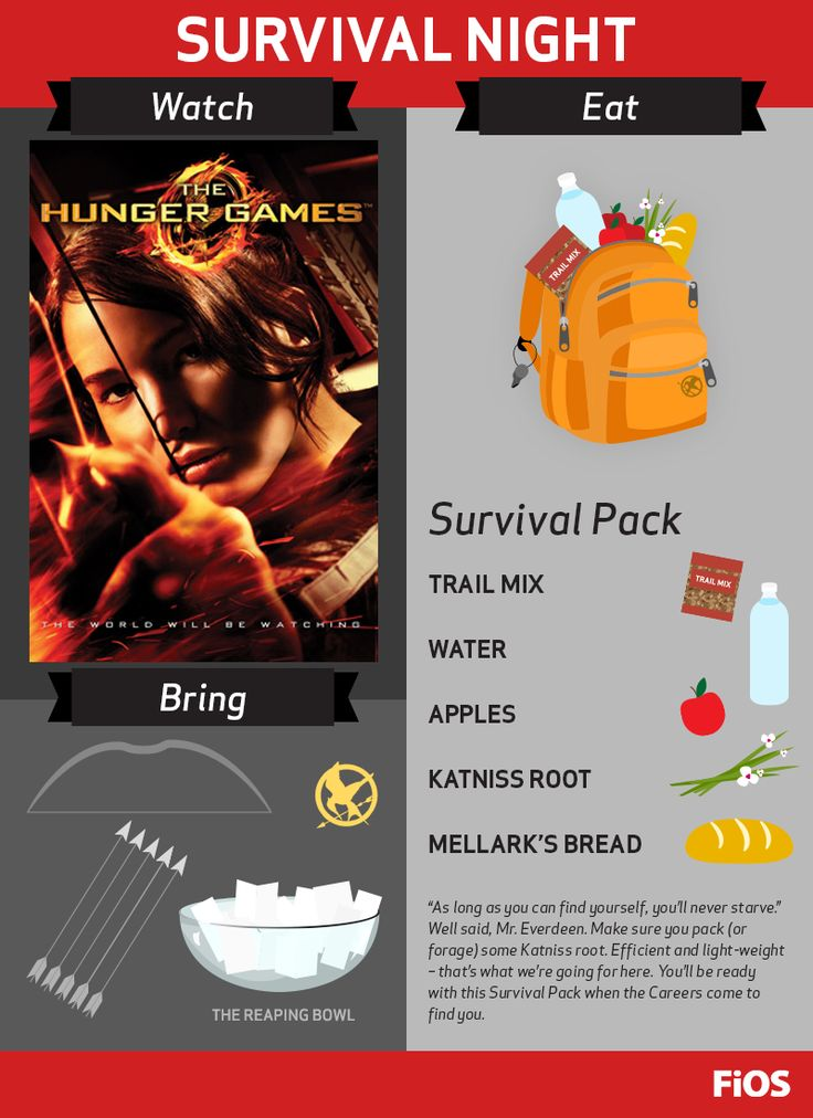 Whether you love the book or the movie, The Hunger Games is a great film for #movienight. Make your survival pack (and don't forget the Katniss root and Mellark's bread), prepare to stand up to the Capitol, and dominate in the arena.