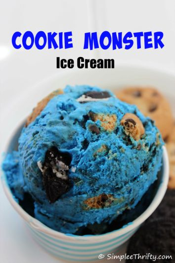 Cookie Monster Ice Cream! What a fun and easy treat for the kiddos
