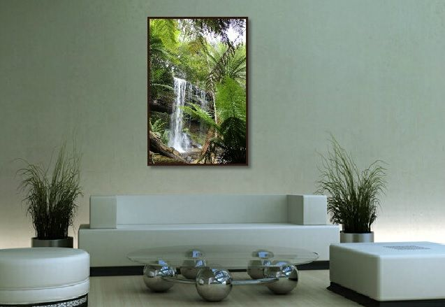 You can see how adding some planters to a room along with a large Art Photograph truly makes for an inviting fresh room.