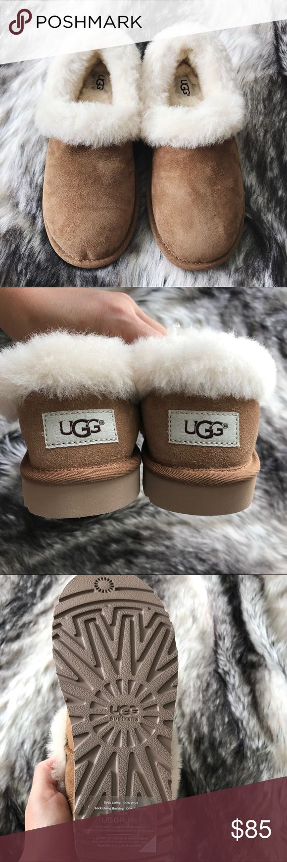 Ugg Shearling Slippers •A fluffy, genuine shearling collar tops a comfy suede slipper that's sure to be a go-to in your casual wardrobe. The lining is plush UGGpure, a textile made entirely from wool but engineered to look and feel like shearling.  •Size 6, runs narrow.  •Display shoe, like new condition. Original shoe box NOT included.  •NO TRADES/HOLDS/PAYPAL/MERC/VINTED/NONSENSE. UGG Shoes Slippers
