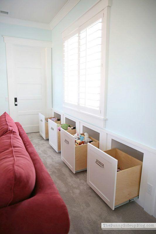 ** DIY Custom Built-In Storage Drawers  @SunnySideUpBlog