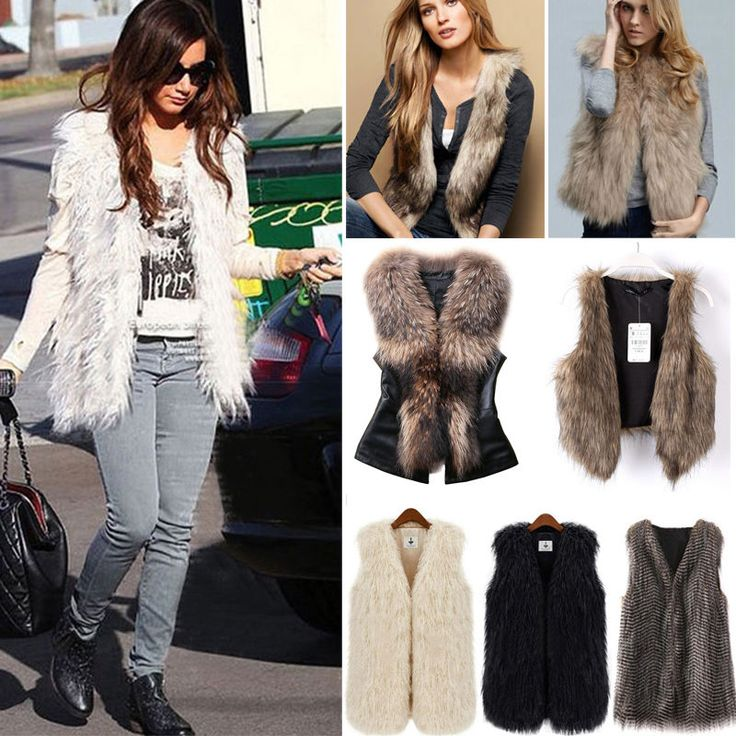 Womens Winter Warm Faux Fur Vest Sleeveless Waistcoat Gilet Coat Jacket Outwear. Material: Faux Fur, Polyester.   Material: Faux Fur. Material: Faux Fur. Material: PU Leather & Faux Fur. United States of America. | eBay!