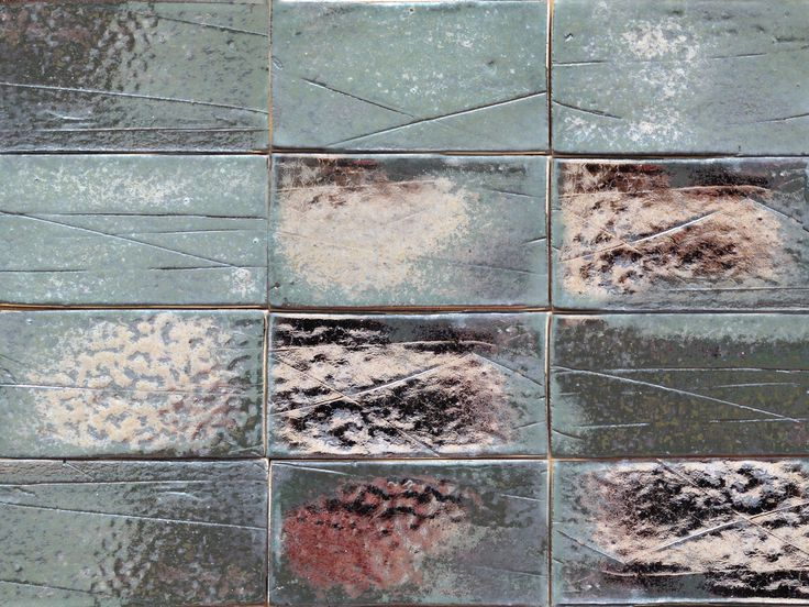 Hand-made industrial style tile, rectangular with a metalic glaze