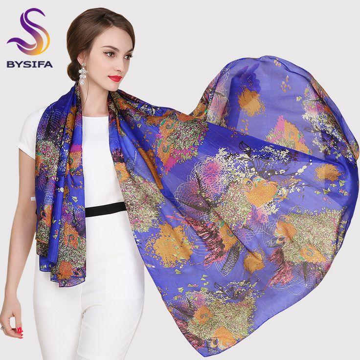 Female Long Silk Scarf Shawl Autumn Winter Women Mulberry Silk Blue Purple Scarves 2014 Winter All-match Plus Size Scarf Wraps