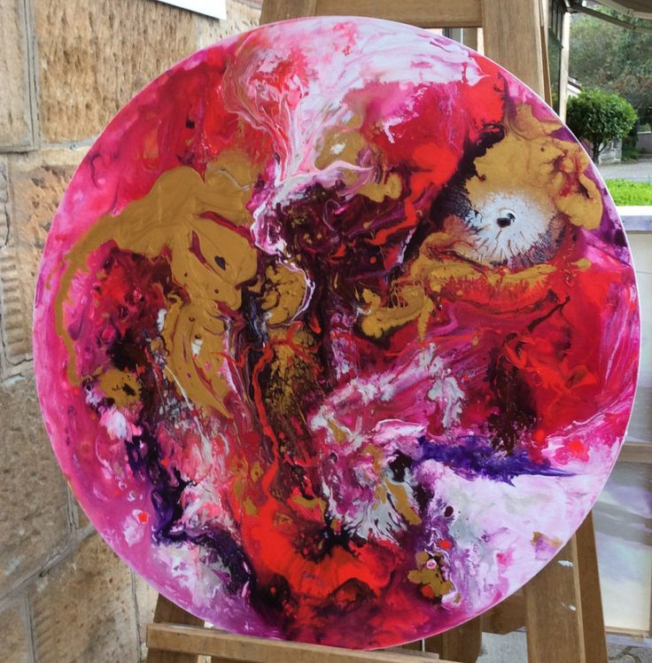 Flow Acrylics  Art Commission Abstract Painting - Pink Purple Gold White Brown Pearl Red - order your customer piece - u get colors u need by AntuanELLE on Etsy