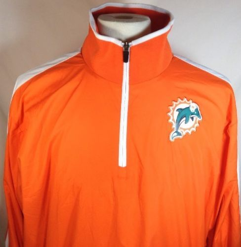 Miami-Dolphins-Jacket-Large-Mens-Nike-NFL-Onfield-Apparel-Pullover-1-4-Zip-Orang