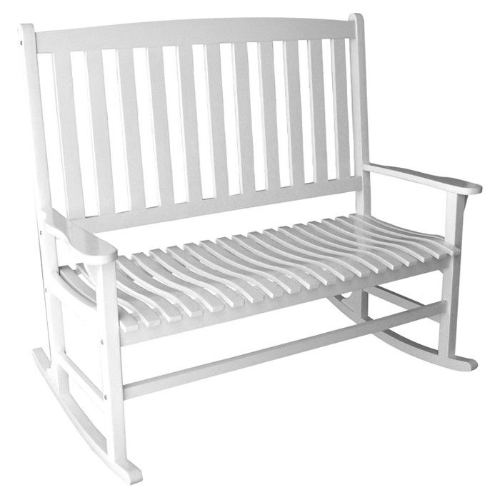 Mercella Indoor/Outdoor Acacia Rocking Bench - Pretty Handy Girl on Joss  Main