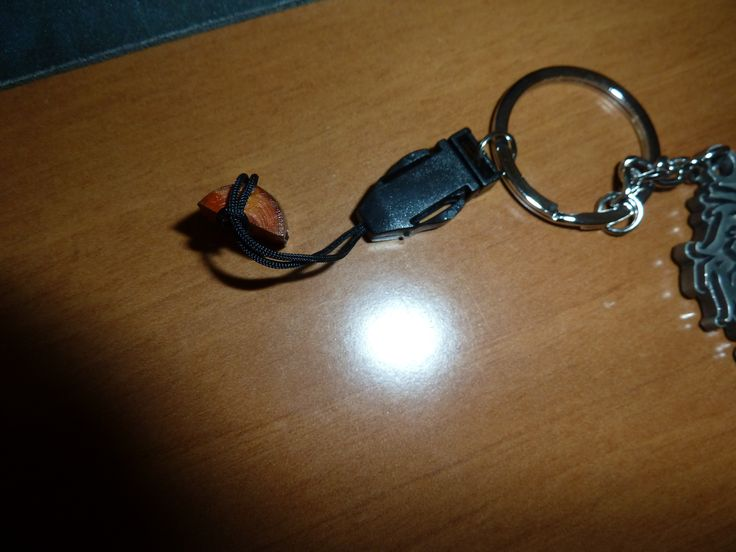 A polished knot/gnarl (wood) with a small hole (drill 1,5 mm) into a keychain vol2