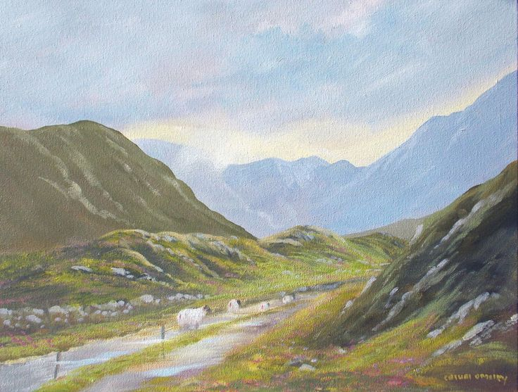 through  the valley - Painting,  2x16x20 in ©2014 by Cathal O Malley -                                                          Realism, Canvas, Landscape