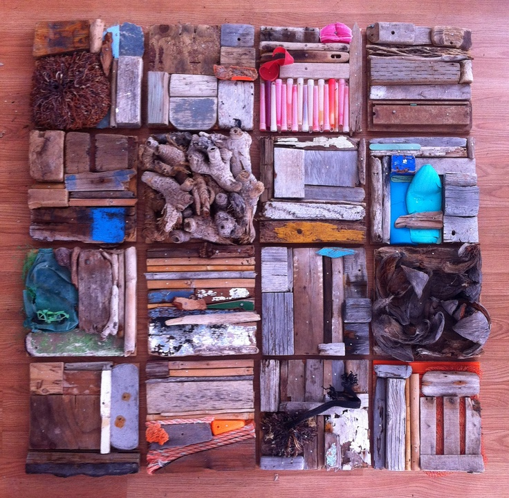 """""""Lost and Found"""" art by Roxy Heinz. All these pieces of plastic, wood, & seaweed were collected on the beach to make this mixed media/collage piece of art."""