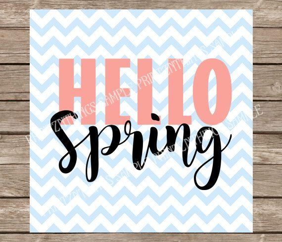 Hello Spring svg Hallo lente teken lente svg Pasen svg Quotes svg-bestanden snijden bestand silhouet cricut gesneden bestand warmteoverdracht DXF