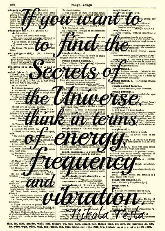 Nikola Tesla Quote, Energy, Frequency and Vibration, Wall Decor, Art Print, Wall Art, Book Art