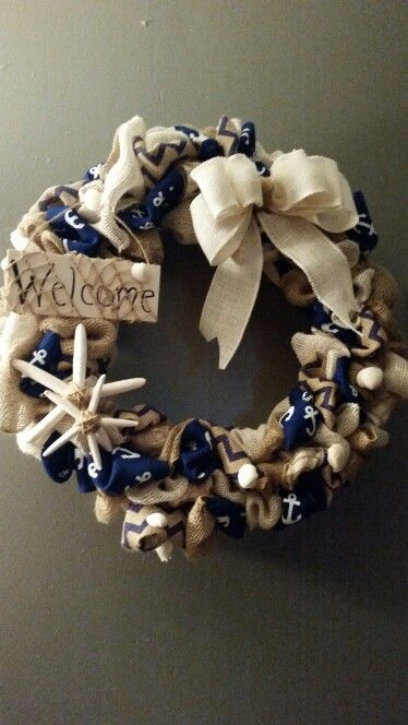 Beachy burlap wreath