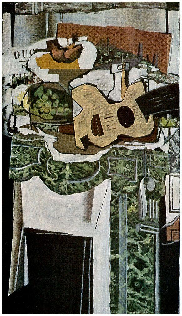 georges braque guitare et nature morte sur la cheminée