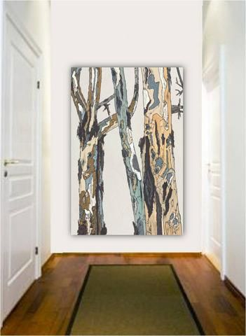 long extra large wall art white modern rustic canvas print pastels tree art office decor