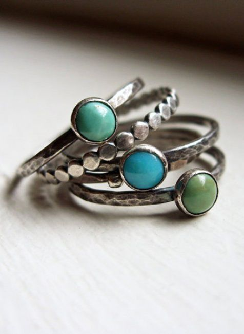 Tricolor Turquoise Stacking Rings in Antiqued Sterling Silver - Set of 5 Natural…