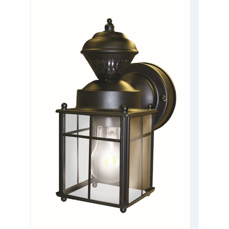 Outdoor Wall Light Fixtures Lowes : Shop Secure Home 9.52-in H Matte Black Motion Activated Outdoor Wall Light at Lowes.com Home ...