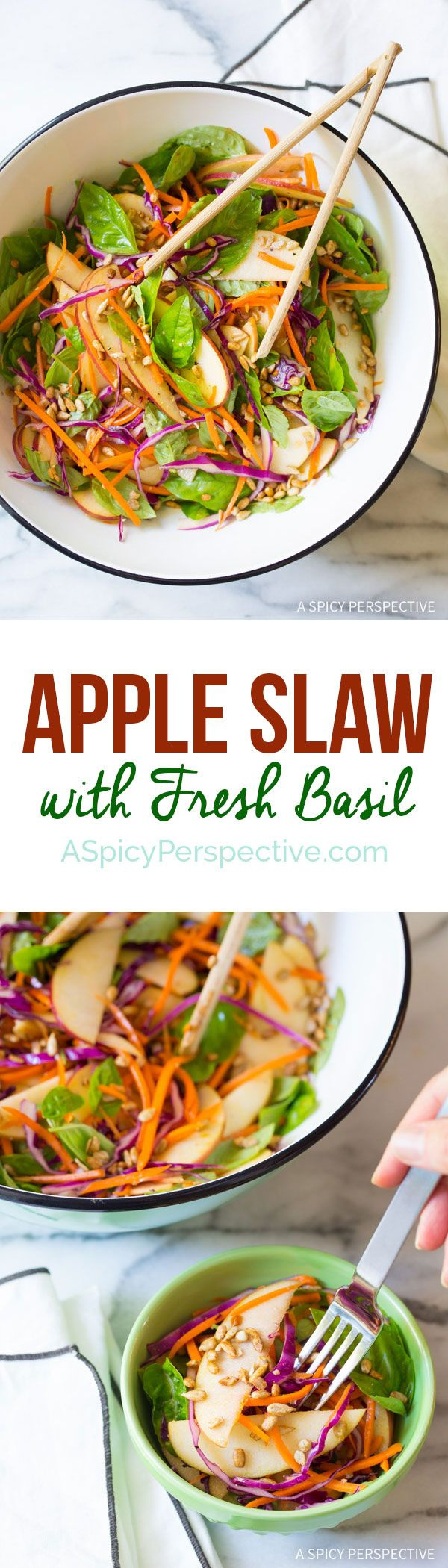 fine silver jewelry online Amazing and Easy Apple Slaw Salad with Fresh Basil Leaves and Sunflower Seeds on ASpicyPerspective com