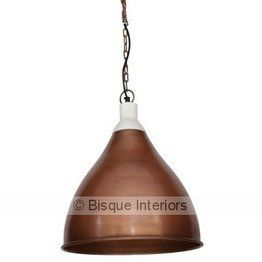 Antique Copper and Marble Pendant Light