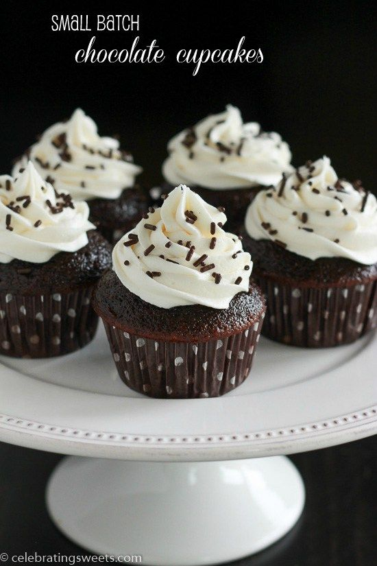 Small Batch Chocolate Cupcakes - AWESOME.  A whipped cream frosting is my preference, but butter cream or cream cheese frosting a will work well.