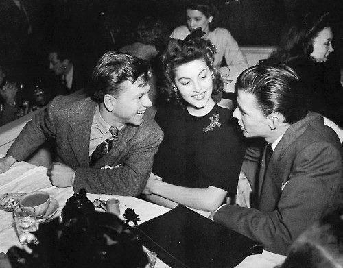 Ava Gardner with Mickey Rooney & Frank Sinatra (first & last husbands).