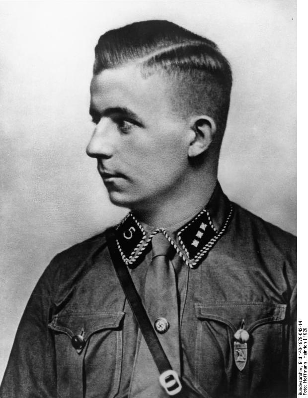 """Horst Wessel (October 9, 1907 – February 23, 1930) was a German Nazi activist and an SA-Sturmführer who was made a posthumous hero of the Nazi movement following his violent death in 1930. He was the author of the lyrics to the song """"Die Fahne hoch"""" (""""The Flag On High""""), usually known as Horst-Wessel-Lied (""""the Horst Wessel Song""""), which became the Nazi Party anthem and, de facto, Germany's co-national anthem from 1933 to 1945."""