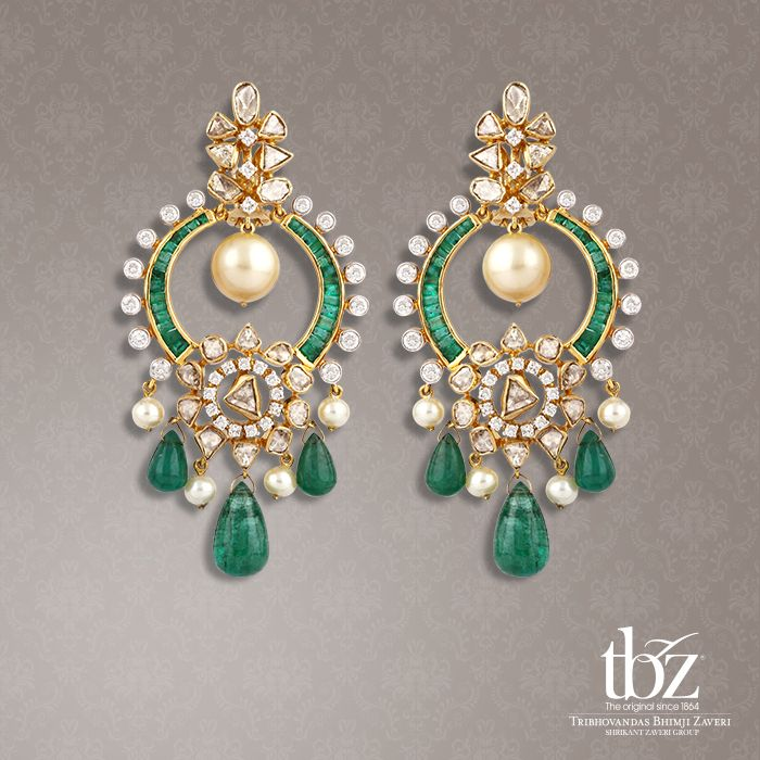 Captivating Chandballis with swirling emeralds and pearls quirk up an outfit instantaneously.