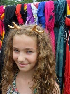 Get your costume Yule Reindeer Horns from Dot Wasilewski at this show Handcrafted, and has an invisble elastic cord, so this horns can fit any size head