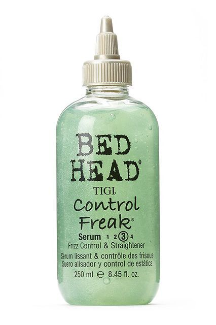 "TIGI Bed Head Control Freak Serum ""I like this serum for loose, light curls because it's water-based, adds lots of shine, and protects hair. Apply to damp hair, flip your head over, and use a diffuser attachment on your blowdryer. Once curls are dry, shake for a tousled, bohemian look."" #refinery29 http://www.refinery29.com/cheap-drugstore-hair-products#slide-45"