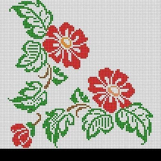 Wildflower hibiscus cross stitch.