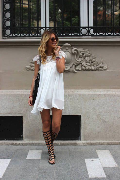 Choies Black Leather High Knee Gladiator Flat Sandals: