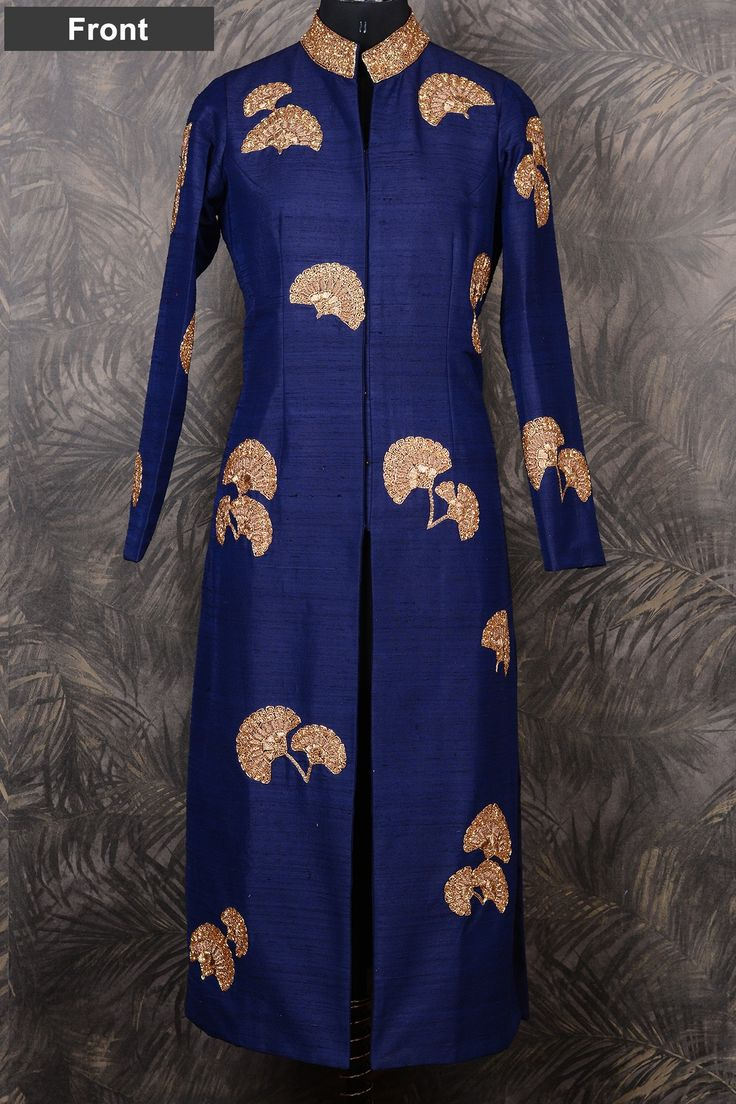 Dark blue raw silk glamorous salwar with cutdana & zardosi work-SL5911