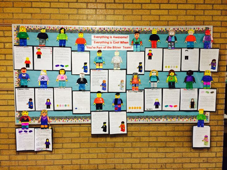 """Leader in me bulletin board idea. Lego movie-""""Everything is awesome! Everything is cool when you're part of the _________team."""" Student design their own Lego person and write an essay about why it was awesome to be part of your classroom team. Great end of year bulletin board!"""