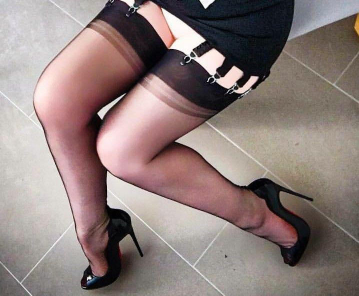 Black high heels and stockings mistaken. apologise
