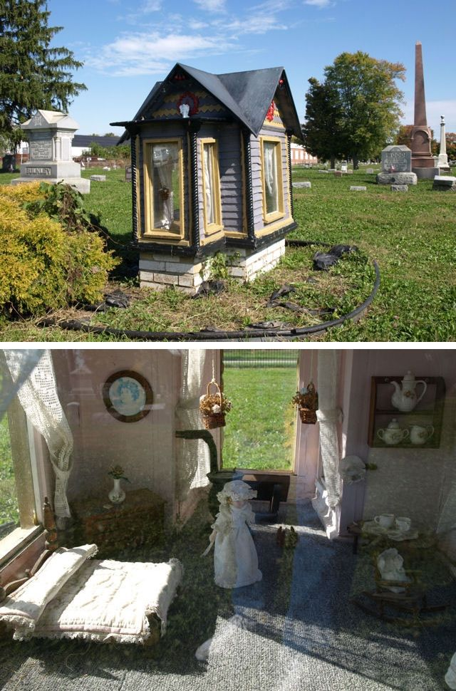 The dollhouse grave marker of Vivian Mae Allison (1894-1899) in the Connersville City Cemetery in Connersville, Indiana.