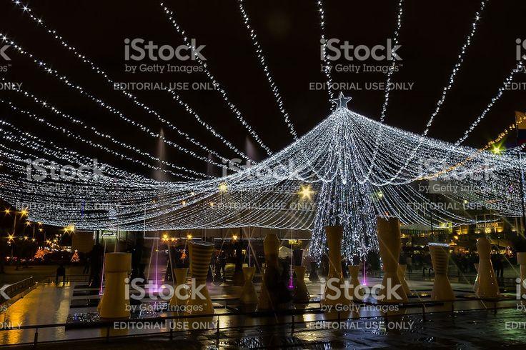 Bogotá Colombia: Christmas lights and fountain; Centro Comercial Gran Estación royalty-free stock photo